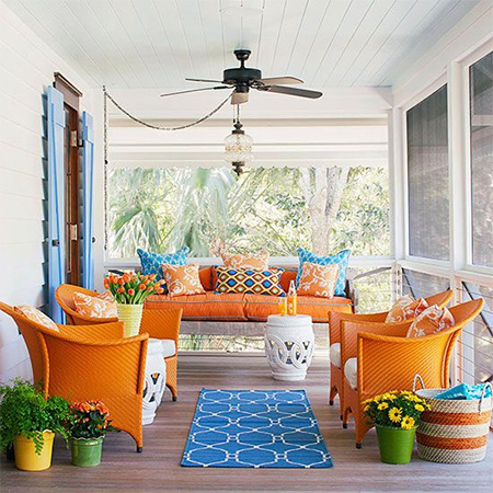 shady cool outdoor patio or deck colourful ideas