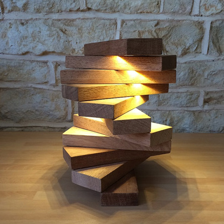 Meranti Blocks And Led Lights For Desk Or Table Lamp