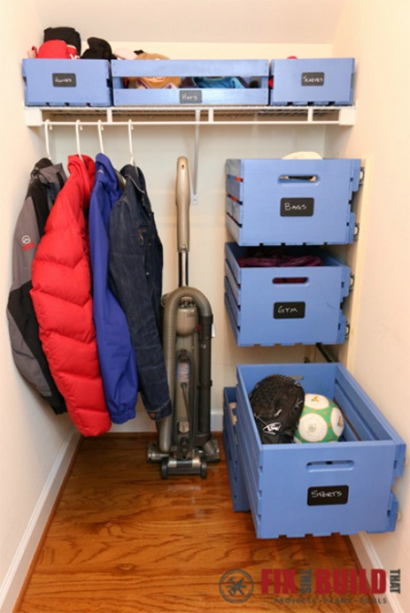 Here's a clever way to use the storage crates we made to set up a pullout storage system that can be used to store items and contain clutter almost anywhere in a home.