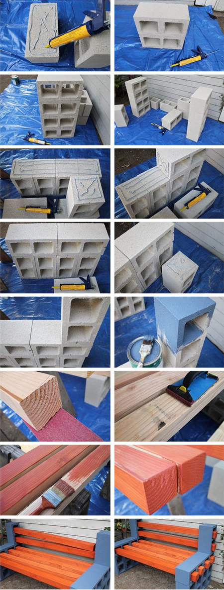 wood and breeze block bench