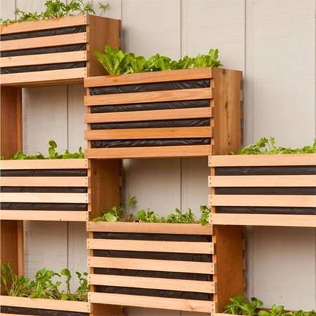 Similar in design to our wine crates used for storage and furniture, you can also use them to make your own stacked vertical garden and make full use of valuable wall space to grow your own kitchen herbs or salad veggies.