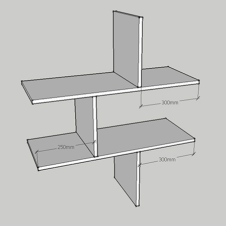 Make a dollhouse bookcase diagram