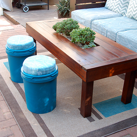 recycle paint buckets into outdoor seating