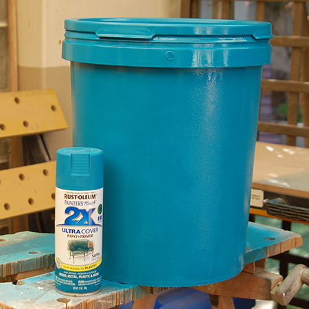 Recycled paint container stools with rustoleum 2x