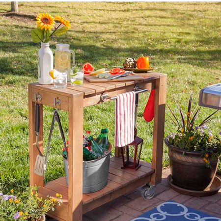 The braai cart is made using 20mm and 32mm pine and dressed up with accessories - all of which you will find at your local Builders Warehouse. Take the cutting and materials list into the store, or cut at home, and make this braai cart in a day.