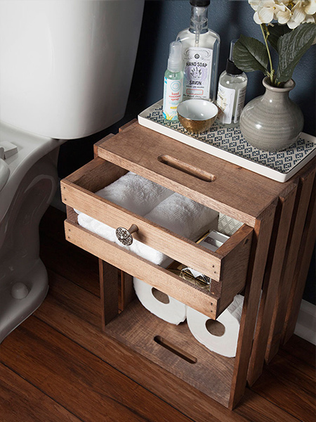 Home dzine home diy wine crate storage for bathroom or for Make your own bedside table