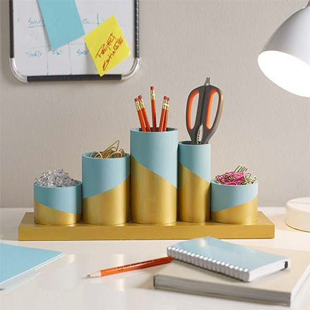 Here's a colourful PVC pipe desktop organiser that you can make to keep your workspace organised. Colour blocking with paint adds a fun design element.