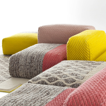 Anyone with basic knitting and weaving skills could make their own comfortable upholstered furniture, and these pieces would be perfect for a den or children's playroom.