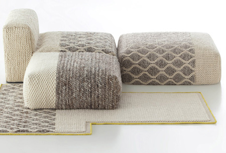 The knitted and woven panels are wrapped around a medium-density foam block and provide a comfortable, soft place to relax.