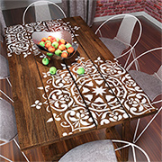 Add a stencil design to a dining table