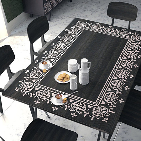 HOME DZINE Home Decor Add A Stencil Design To Dining Table