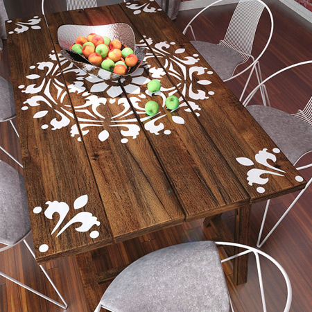Home Dzine Home Decor Add A Stencil Design To A Dining Table