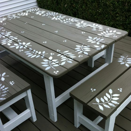 For a rustic finish to your stencilled table, lightly sand back the painted design with a sanding sponge or 180-grit sandpaper before applying sealer to protect