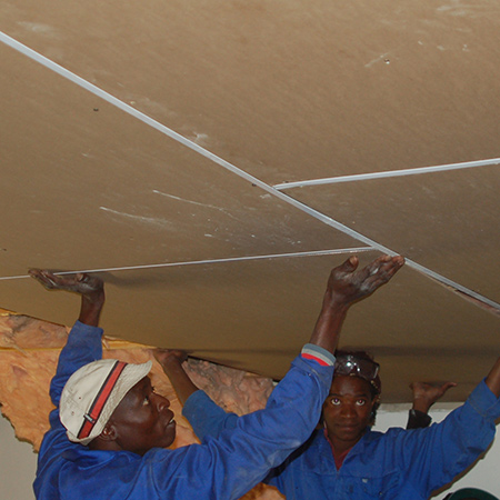 After fitting all the ceiling boards in place the holes can be filled with  a read - Ceiling Boards IDI Design