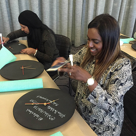 diy divas legacy ladies day at da vinci hotel making chalkboard clock