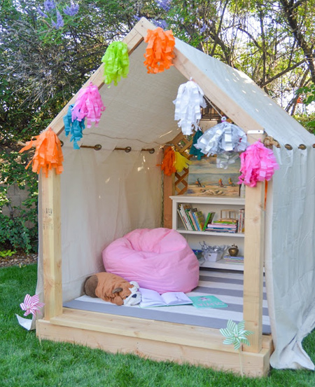 We have previously featured this cosy outdoor playhouse on Home-Dzine, and it is really easy to make. Visit the page and you will find metric measurements to build the playhouse.