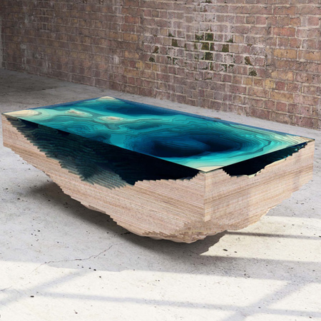 The 'Abyss Table' from Duffy of London is a conversation piece as much as a functional one.This new design is concerned with depth, and creates a geological cross-section as hypnotic as the sea.