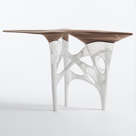 Originally conceived as a private work, the 'Transitional Fields Table' brings together nature and technology. The table incorporates a CNC-milled walnut top and delicate 3-D prototyped legs - structurally challenging, and inspiring. The concept was to bring the tectonics of nature into the client's home, whilst also being at the forefront of fabrication and design.