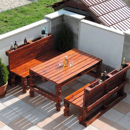 Outdoor furniture is always a great way to repurpose reclaimed wood pallets. They don't have to be left in their raw state - use products from the Woodoc range to seal and protect your new garden dining set