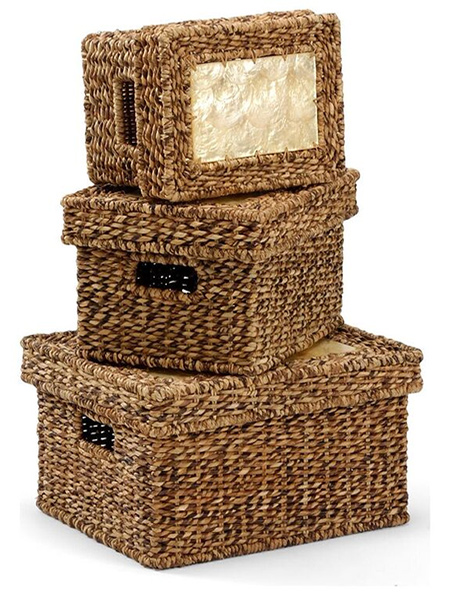 Pretty decorative artisan baskets will derail disorganization and provide a space for mail, notebooks and electronic cords