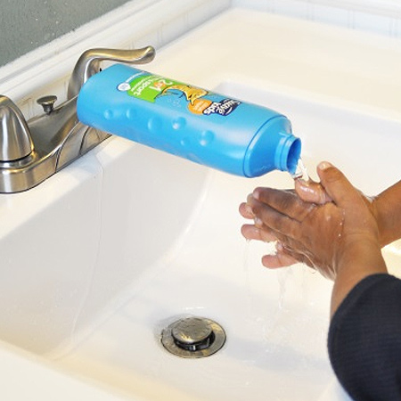 If your kiddies struggle to reach the tap, cut a hole in the underside of an empty plastic bottle and fit this over the tap. This will re-direct the water and make it easier for washing hands.