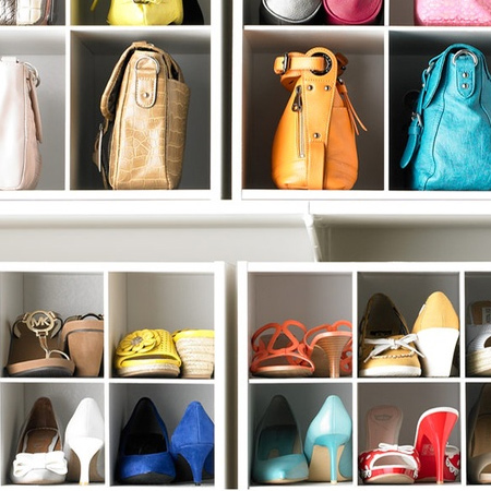 Store more shoes simply by organising them back to front. By placing shoes in the opposite direction you can easily fit a single pair of shoes into a small space.