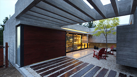 Modern architecture using concrete and wood