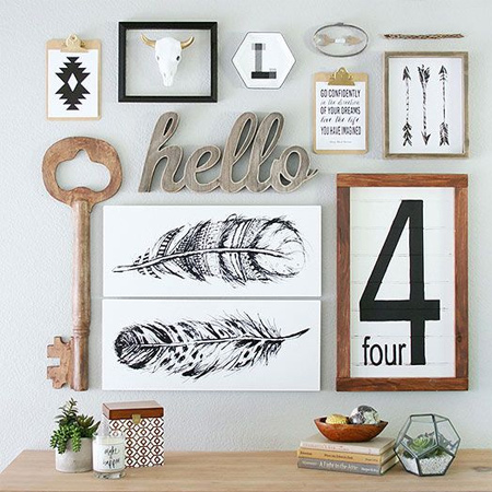 Wood is so easy to work with and you can use offcuts or buy pine at your local Builders to make your own wooden wall decor.
