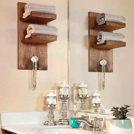 Need extra storage in a bathroom? These shelves are easy to make using offcuts and a Kreg pockethole jig or biscuit joiner.