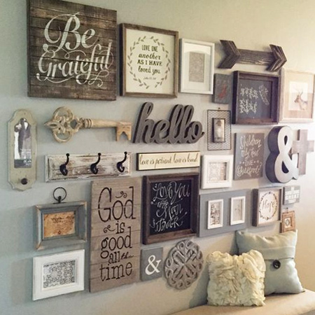 Decorate a feature wall with wood accents that you hand craft and finish to complement your room decor.