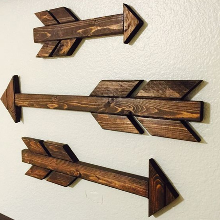 Wooden arrows as wall art is trending at the moment and you will find them on display in many a home. You can easily make your own using reclaimed or pine planks found at your local Builders. Stain the finished design using Woodoc gel stain or tinted Woodoc sealer, or apply Woodoc antique wax.