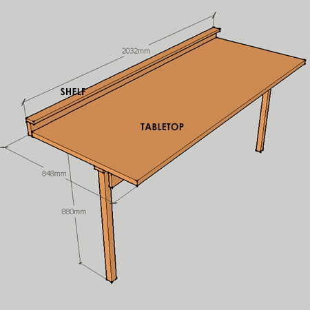 fold-down worktable