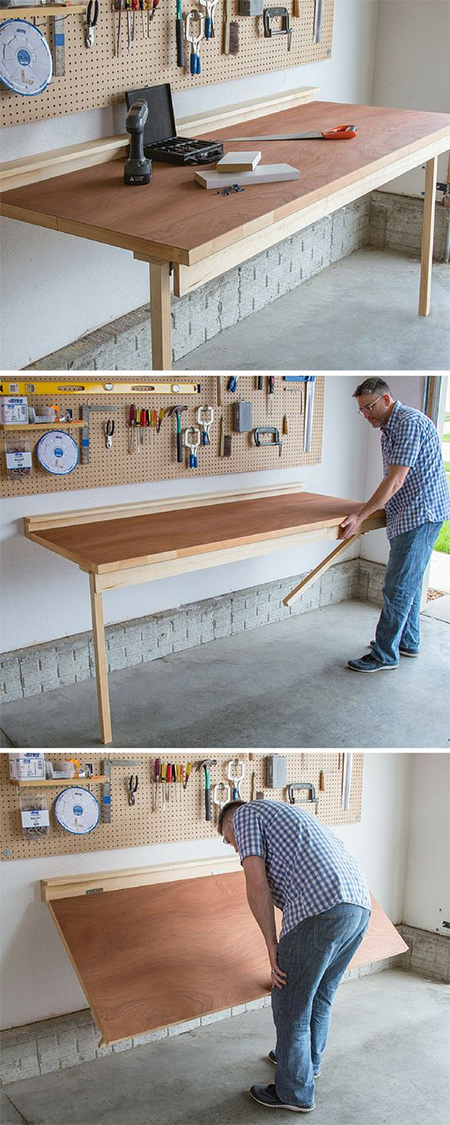 Turn a bought door into a fold-down worktable
