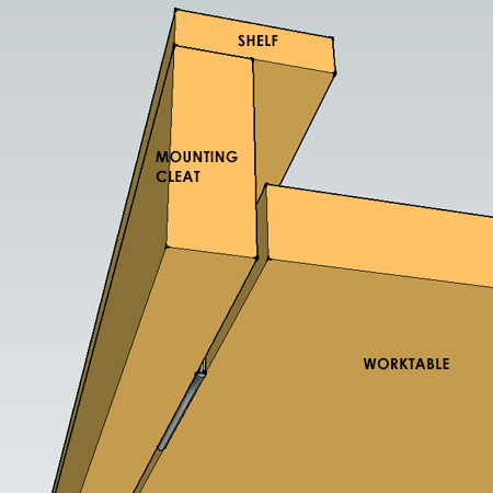 fold-down worktable - wall support