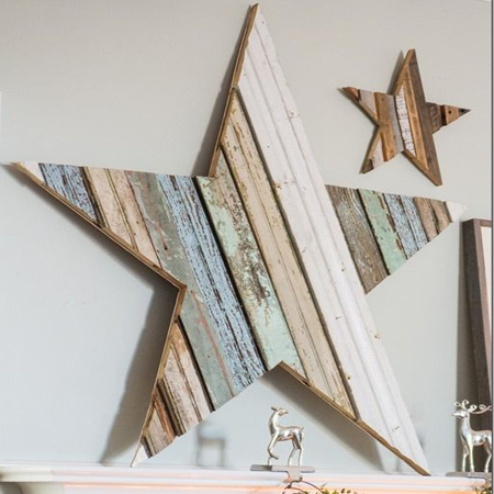Tongue & groove planks are fairly inexpensive - cheaper than PAR pine in fact - and are a great way to make your own wall decor. Add something new with oversized stars