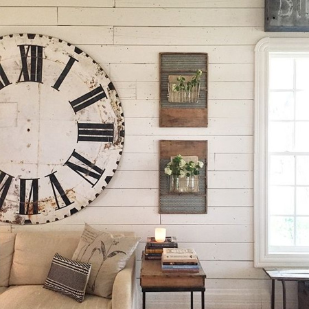 Tongue & groove planks are fairly inexpensive - cheaper than PAR pine in fact - and are a great way to make your own wall decor. Add something new with oversized clock.