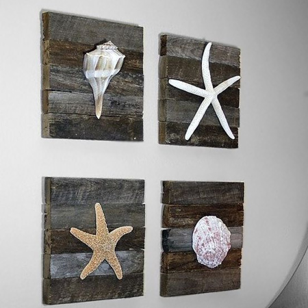 Add coastal design to a wall using reclaimed wood planks trimmed to make mounting boards for seashells or collectibles. Use a biscuit joiner or Kreg pockethole jig to join the planks together
