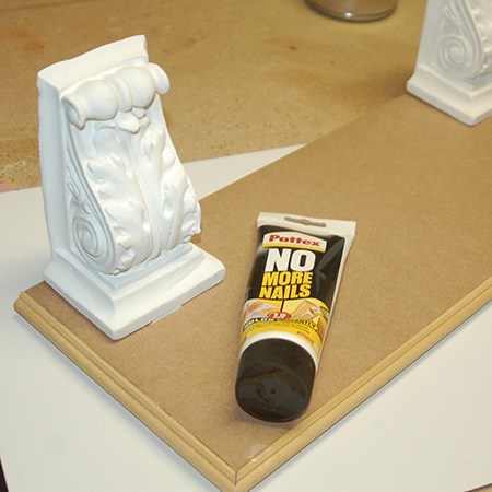 5. At the same time you can use adhesive to secure the corbels to the underside of the shelf.