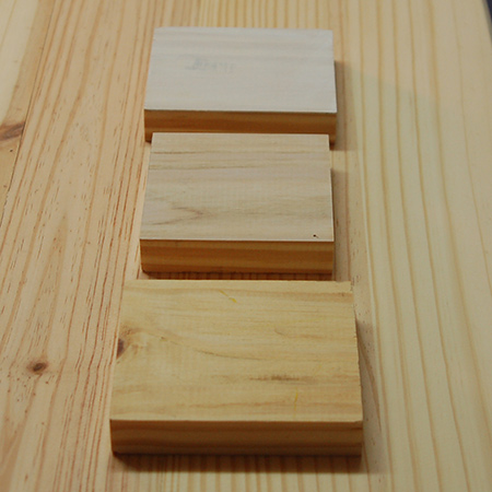 BELOW: Bottom block is raw pine - Top block is too white - I went with the middle block