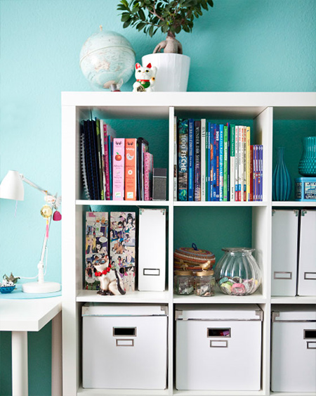 plain white bookcase houses a collection of favourite reads and school books