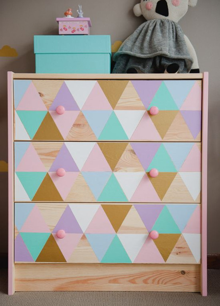 Have fun with paint and designs to dress up a plain, pine chest of drawers to fit in with a particular room design or theme. Rust-Oleum offer a wide range of colourful paints, satin, gloss and metallics, that can be used in so many ways.