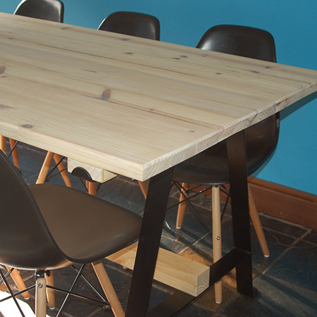 make a pine dining table with whitewashed finish