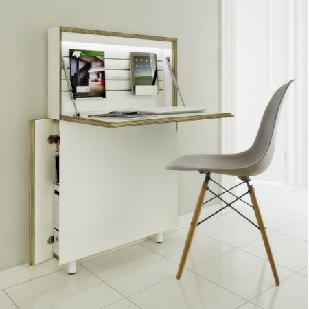 Possibly the smallest desk on the market, Flat Mate is designed to be practical, simple and unobtrusive. This compact home office fits perfectly into any small space and offers plenty of storage and work space for those needing a compact or mobile home office.