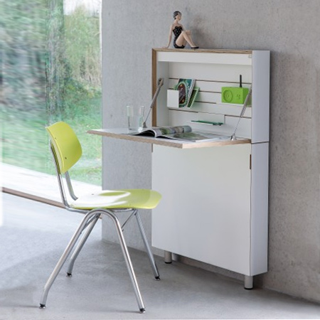The upper cabinet provides storage space for stationary, a laptop or tablet PC. LED lighting inside the cabinet allows you to plug in anywhere and set up a work space. The Flat Mate has a large, stable work surface that can be easily raised and lowered.