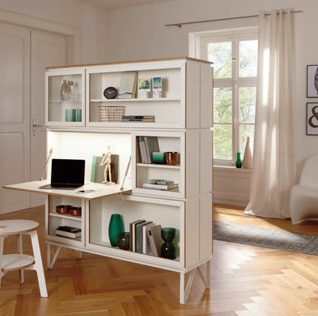 All the modules in the range can be left open or fitted with sliding solid or glass doors, allowing you to customise a single piece of furniture in so many ways - despite its compact size.