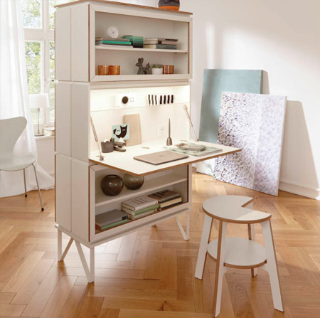 You even have the opportunity to double up and have decorative storage on one side and a practical work space on the other - with hardly any loss in valuable floor space.