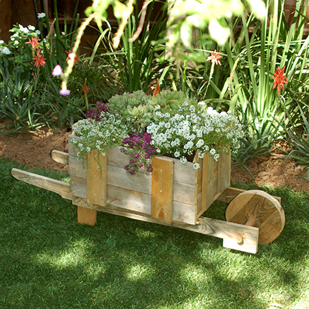 Reclaimed pallet wheelbarrow for plants or veggies