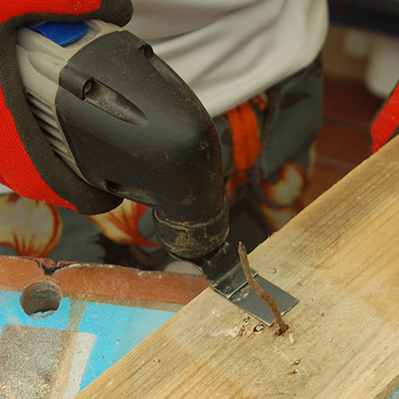 The Dremel MultiMax easily saws through steel nails and wire staples.