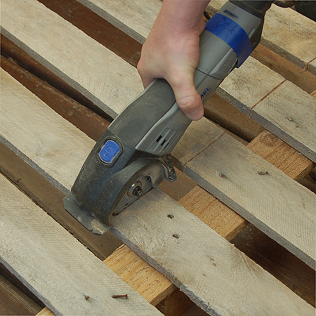 When breaking down pallets you should wear gloves and safety glasses. The gloves will protect your hands from splinters from the dry, brittle wood. With safety glasses on you don't have to worry about flying bits of wood, or steel if you are cutting through nails.