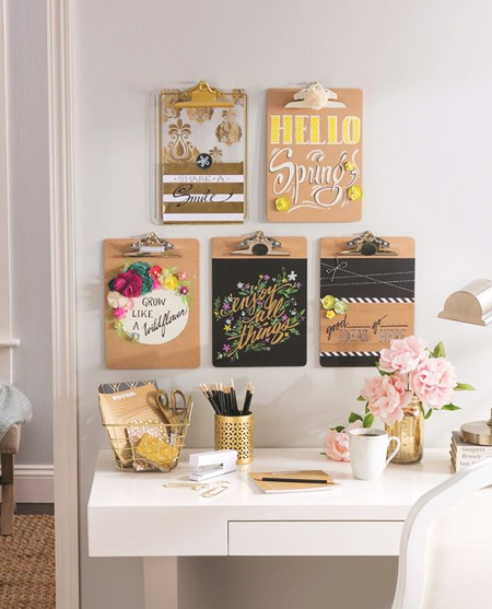 beautiful home office ideas - clipboard wall organiser